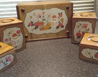 Woodpecker Continental Gourmet Wooden Bread Box & Canister Set