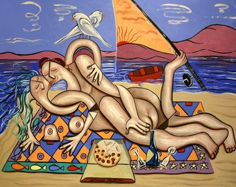Love On A Deserted Island Print  Poster Couple  Love Cubism Anthony Falbo