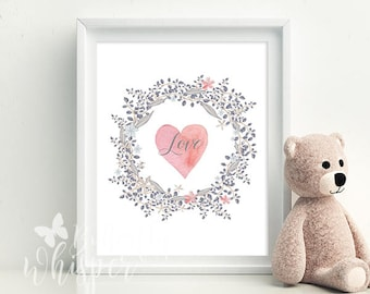 Nursery wall decor, Heart in a wreath love printable, Baby shower gift, Babyroom wall decor, nursery wall art Pastel colors wall decor print