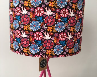 Mexican Folklore Floral Fabric Drum Lampshade