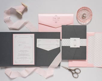 5x7 Grey, Pink, Silver Pocket Wedding Invitation with Return Address Printing, Enclosure Band, Monogram & Inserts. Different Colors Options