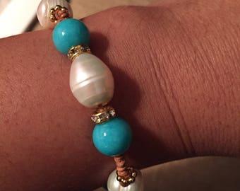 Freshwater pearls bracelet, Turquoise bracelet, Knotted pearl bracelet