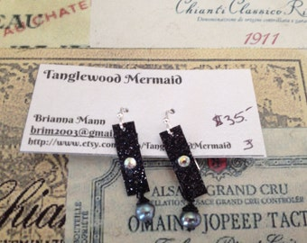 Thin black sparkle ribbon, crystal and genuine black pearl earrings