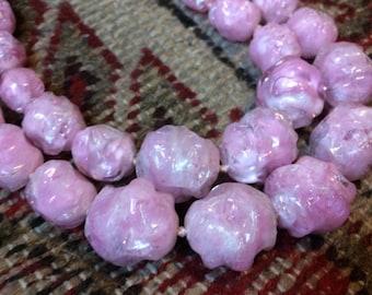 "Bubble Gum Pink Double Strand 60s Lucite Necklace, 22"" Cotton Candy"