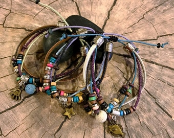 Multi-Strand Adjustable Beaded Bracelet with Charm Inspired by the Earth