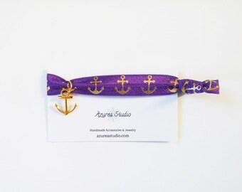 Purple Gold Anchor Hair Tie
