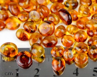Genuine Natural Cognac Polish Baltic Amber Medium Beads With Holes - 20pcs