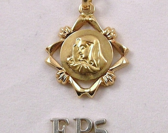 vintage 18k yellow gold Mary medal