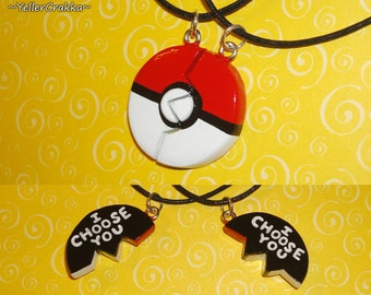 Pokemon - Pokeball Friendship Necklace - I Choose You Engraving