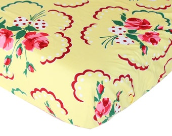 Fitted Crib Sheet: Retro Floral (Girl Baby Bedding) | Bold Bedding