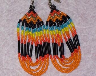Native American Beaded Loop Earrings