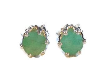Green Emerald Earrings|Columbian Emerald Studs|Half Carat Emerald Earrings|5mm Silver Emerald Studs|Sterling Silver|May Birthstone Jewelry
