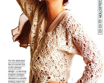 Ladies Lacy Cardigan, Crochet Pattern. PDF Instant Download.