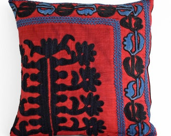 Vintage suzani pillow cover 14x14, Suzani pillow cover,Uzbek suzani pillows,Suzani Cushion Covers, Embroidered decorative pillows, suzani