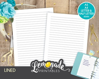 Lined planner insert Printable Lined Pages for Planner Insert A5 lined planner Inserts with lines A5 filofax large kikki k A5 color crush