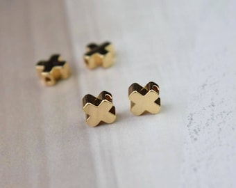 10 of 14K gold filled 6mm cross clover charm spacer beads BQ3