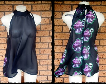 Black Skull Cupcake Chiffon Loose Halter Blouse, Size L-XL - Ready to Ship - Gothic Cupcakes Over Size Neon Floaty Purple Green