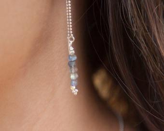 Labradorite Threader earrings, labradorite gemstone , grey flashing gemstone jewelry, wedding party