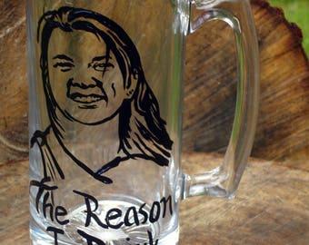The reason I drink portrait beer mug
