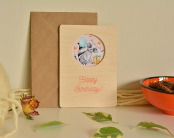 Fabulous Birthday Cards.Happy Birthday Wooden Wish Card. Pay 3 Get 4.One Of A Kind.Model Number (8)