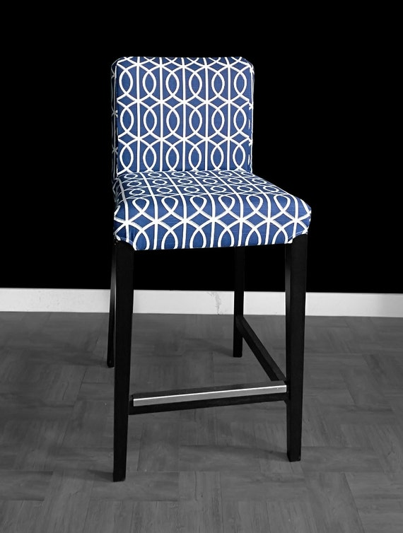 Blue Circle Pattern Henriksdal Bar Stool Chair Cover