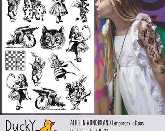 """Temporary tattoos """"Alice Adventures in Wonderland"""" based on book illustrations. Cheshire cat, Hatter, White rabbit. Alice party favors."""
