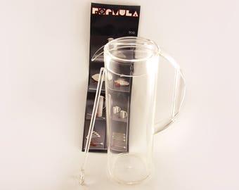 Vintage Mepal Rosti clear Pitcher Jug and stirrer. Formula range, 80s partyware, retro homeware.