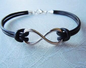 Infinity Bracelet, Friendship Bracelet, Black Leather Bracelet, Christmas Gift, Mens Infinity, Womens Infinity, Stocking Stuffer, Love Gift