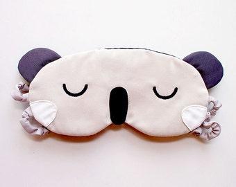 KOALA Sleep Mask Cute Animal Sleeping Mask CREAM Sleep Eyemask Wombat Eye Mask Flight Mask Travel Mask Cosplay Halloween Blindfold Eye Cover