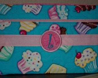 Custom Monogramed Cupcake Clutch/Wristlet Bag
