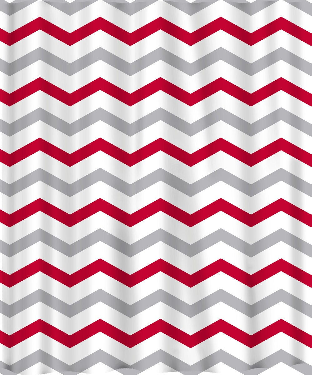 Custom Colors Shower Curtain Chevron Red Grey and white ANY