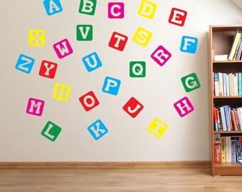 Block Alphabet Wall Stickers Kids Nursery Play Room Home Art Decoration  Children Decals Removable Handmade School