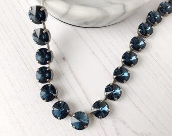 Blue Sapphire Crystal Rivoli Choker, Anna Wintour Necklace , Crystal Riviere, Swarovski Necklace, Georgian Collet