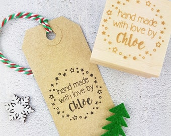 Personalised Christmas Hand Made With Love By Rubber Stamps - Personalized Stamp - Custom Stamper - Handmade By Stamp - Hand Made Label