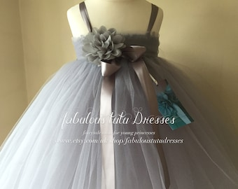 Dove Grey Soft Tulle Tutu Flower Girl Dress With Chiffon Roses.