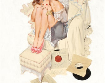 Pin Up Girl Art Print Reproduction, Classic Record by Gil Elvgren