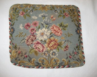 Vintage Petit Point and Needlepoint Pair of Pillows