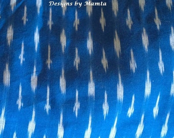 Blue Ikat Fabric By The Yard, Indian Lightweight Upholstery Fabric, Handloom Patola Double Ikat Cotton Fabric, Handwoven Designer Fabric