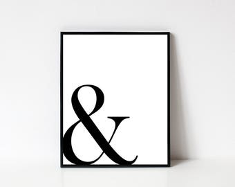 Ampersand Wall Art, Ampersand Print, Ampersand Sign, Minimalist Art, Ampersand Poster, Modern Wall Art, Printable Wall Art, INSTANT DOWNLOAD
