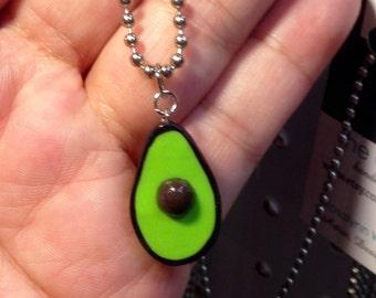 Avocado Necklace, Miniature food jewelry, polymer clay