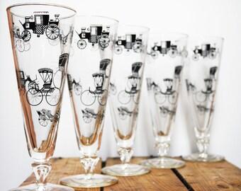 Vintage Glasses with Antique Car Design, set of 5 /  Vintage Bar / Retro / Vintage Entertaining