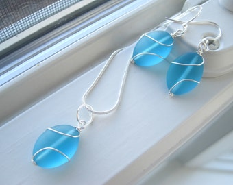 Blue Bridesmaid Jewelry - Necklace and Earring Set - Bridesmaid Gift - Blue Glass Necklace - Wire Wrapped Jewelry - Bridesmaid Jewelry