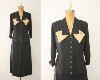 1940s suit | vintage 1950s black suit