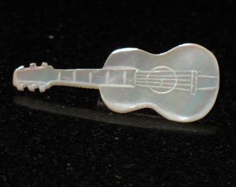 Vintage Mother of Pearl Guitar Brooch MOP Musical Instrument