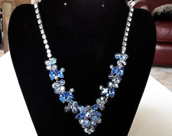 Light Sapphire and Montana Blue Rhinestone Necklace