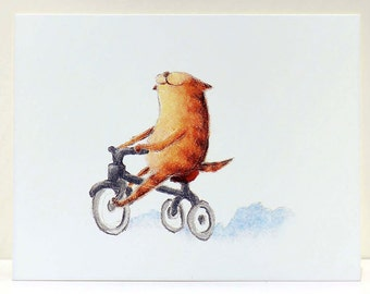 Smiles on Wheels Cat Greeting Card