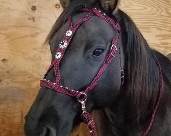 Stunning Hand Braided Bitless Sidepull Bride with BLING Conchos, Horse Tack, BURGUNDY and BLACK   **New**