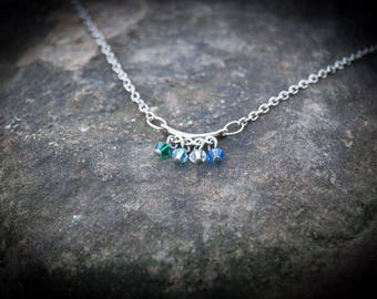 Family Birthstone Necklace with 4 Stones
