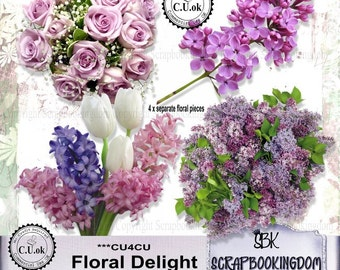 CU4CU SCRAPBOOK KIT 4 pieces x Flower embellishments for Digital scrapbooking or craft projects - Floral Delight