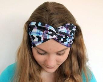 Turban Headband - Ladies Boho Headband - - Yoga Outfit - Blue Purple Black Fabric - Adult Hairband - Fitness Clothing - Boho Clothing